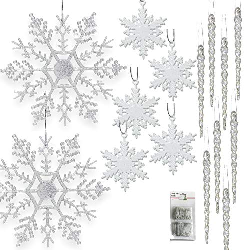 - BANBERRY DESIGNS Snowflake and Icicle Ornament Set - Pack of 68 Assorted Christmas Ornaments - 24 Clear Snowflakes - 32 Mini White Glitter Snowflakes - 12 Clear Icicles - Large Set of Ornaments
