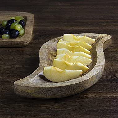 Mothers Day Gift Country Style Wooden Serving Platter Fruit Snack Tray Dish - 12 inches Long Kitchen Dining Serveware