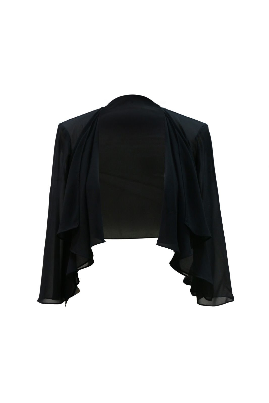 Chic Queen Women's Sheer Chiffon Bolero Shrug Jacket Cardigan Long Sleeve(XXL/Black)