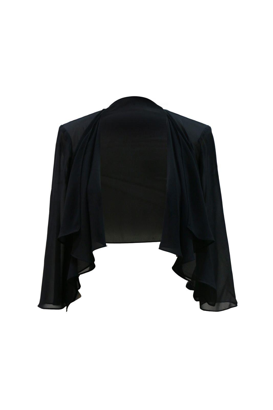 Chic Queen Women's Sheer Chiffon Bolero Shrug Jacket Cardigan Long Sleeve(M/Black)