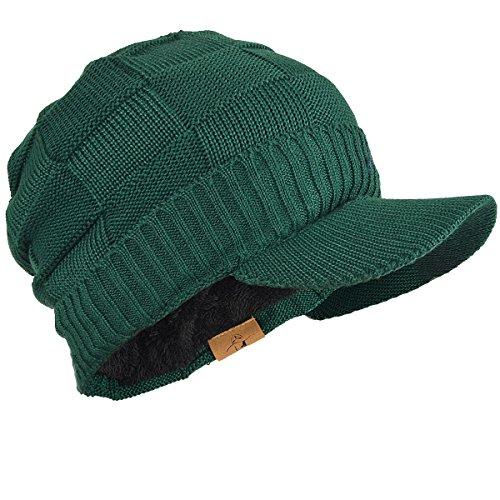 Stripe Visor Beanie - FORBUSITE Men Stripe Knit Visor Beanie Hat for Winter (Green)