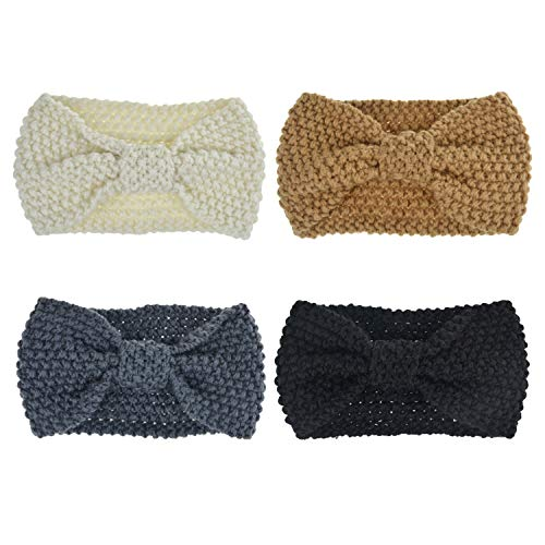 DRESHOW Crochet Turban Headband for Women Warm Bulky Crocheted Headwrap