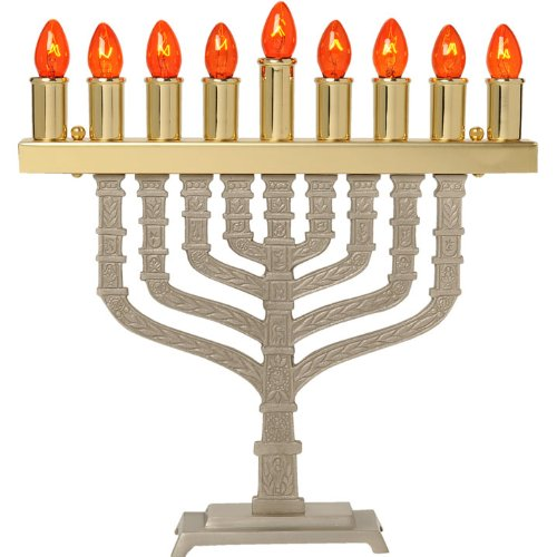Pewter Electric Menorah with Brass Finish