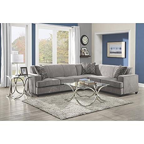 Coaster Home Furnishings 500727 Casual Sectional Sofa Black Grey