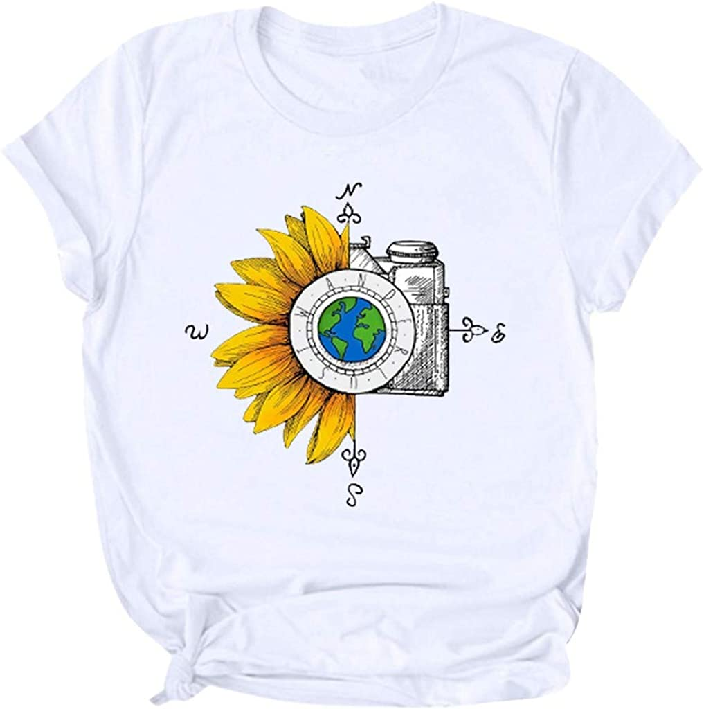 Mlide Summer T-Shirt for Women Fashion Sunflower Print Casual Short Sleeve Tops 2020 New Summer Blouse Mom Gift Tops