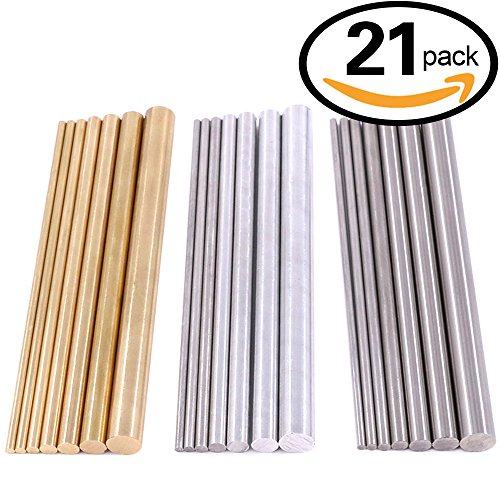 Glarks 21pcs 3 sets of Metals Round Rod Lathe Bar Stock for DIY Craft Tool, Diameter 2mm - 8mm, Metals include Brass, Stainless Steel, Aluminum