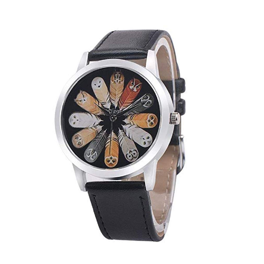 Womens Quartz Watch, Windoson Owl Analog Female Watches Lady Watches Leather Watch (Black)
