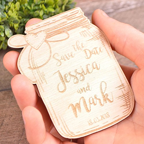 Save the Date Mason Jar Magnet Wooden Magnet SET of 20