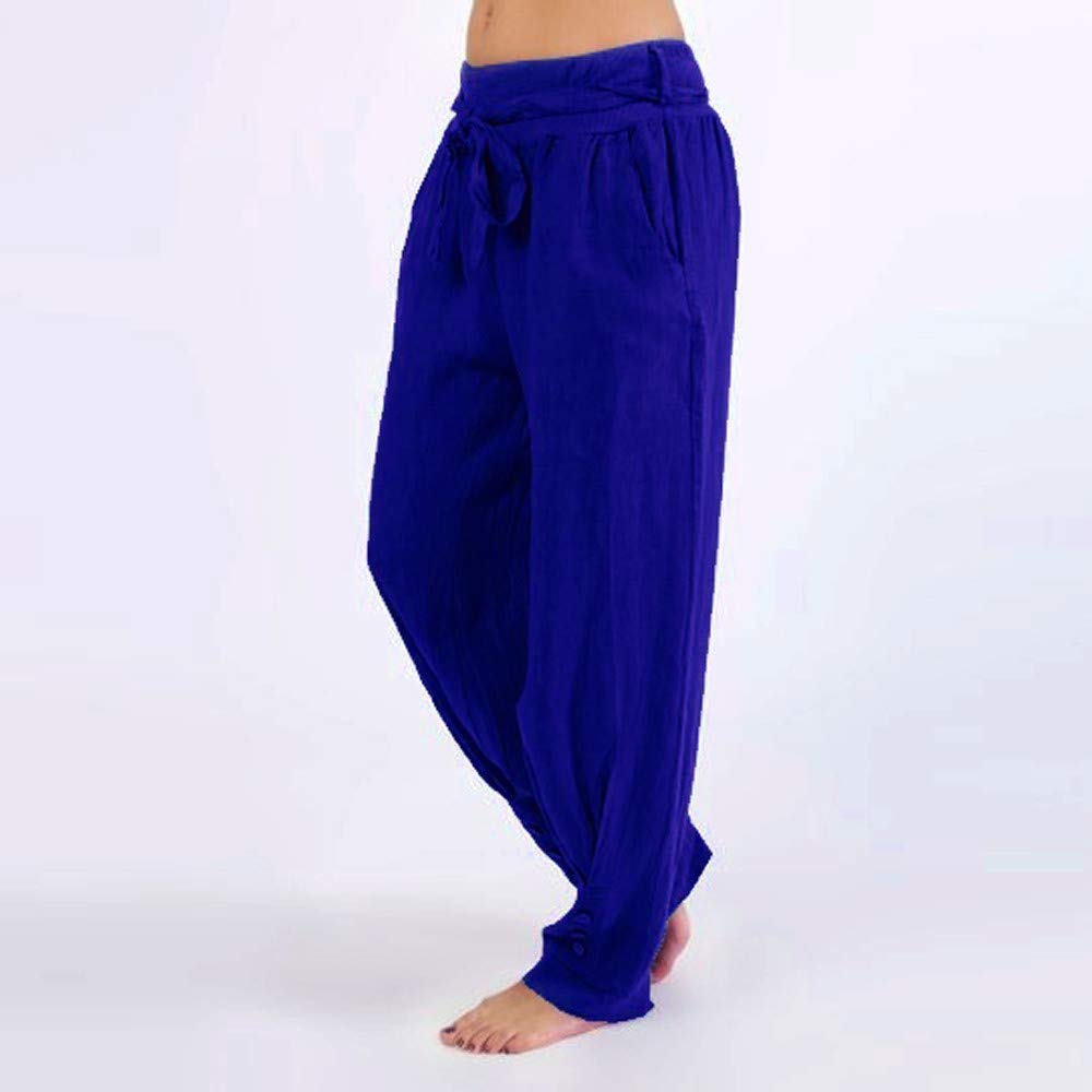 iYYVV Plus Size Women Casual Loose Harem Pants Casual Solid Color Sport Yoga Trousers