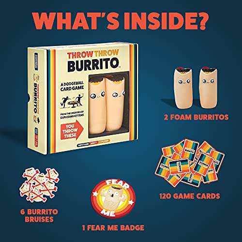 Throw Throw Burrito by Exploding Kittens - A Dodgeball Card Game - Family-Friendly Party Games - Card Games for Adults, Teens & Kids - 2-6 Players
