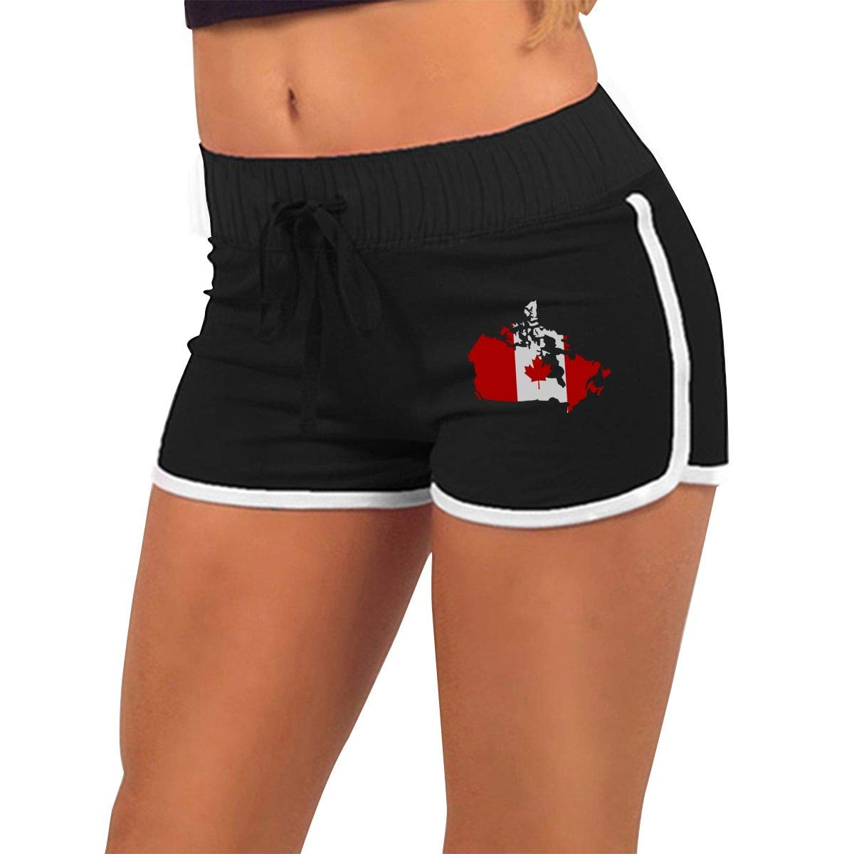 Womens Fashion Canadian Map with Canada Flag Jogger Sweatpant Sports Gym Hot Shorts