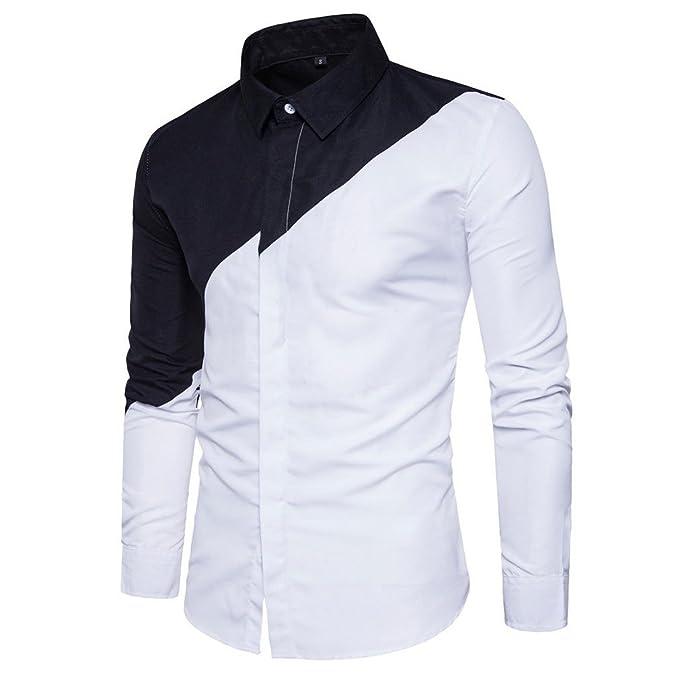 dfc579e94 Usopu Camisa de Manga Larga Casual Blanca con Cuello en Color Negro Diario para  Hombre  Amazon.es  Ropa y accesorios