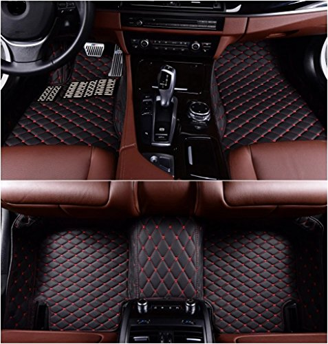 Okutech Custom Fit All-Weather 3D Covered Car Carpet FloorLiner Floor Mats for Infiniti G25 G35 G37 4 door Sedan,Black with red stitching (Black Carpet Sedan 4 Door)