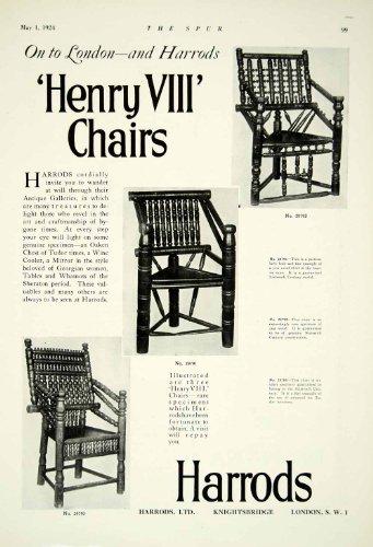 1924 Ad Harrods Department Store Henry VIII Chair Ashwood Furniture Tudor London - Original Print Ad
