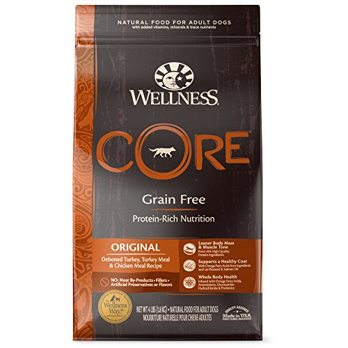 Wellness CORE Natural Grain Free Dry Dog Food, Original Turkey & Chicken, 4-Pound Bag