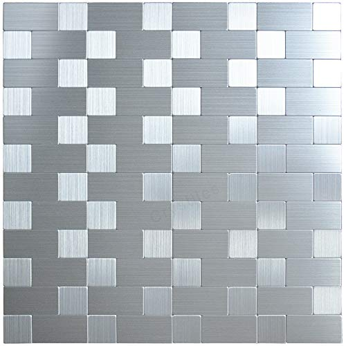 Cut Tile Mosaic Decorative - Crystiles Peel and Stick Mosaics Brushed Stainless Linear Aluminum Wall Tile Backsplash Stick On Metal Tiles, 12