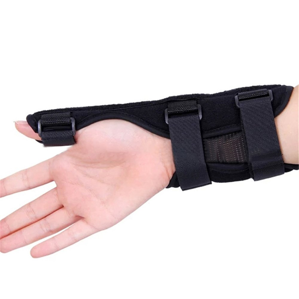 Genmine Thumb Splint Hand Brace Support with Built-in Splint for Arthritis, Carpal Tunnel, Sprains. Anti-inflammatory, Natural Pain Relief Thumb Spica Splint Guard for Thumbs, Fully Adjustable (Left)