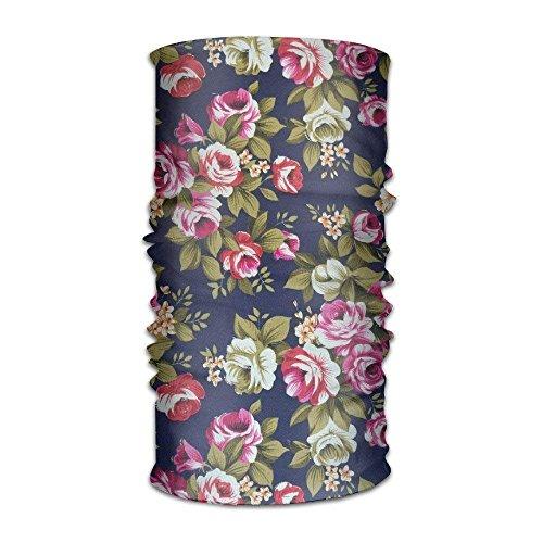 Ciuaole Navy Floral Print Ourdoor and Daily Headwear Multifunctional Seamless Magic Headband -