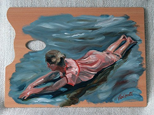 Girl Bathing - Oil Painting on Genuine Artist's Palette, Original & Unique Art from Ireland from Mud Island Art
