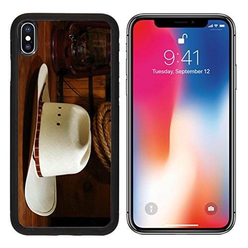 MSD Premium Apple iPhone X Aluminum Backplate Bumper Snap Case IMAGE ID: 4223437 White straw western rodeo cowboy hat with traditional ranch equipment background (Rodeo X-country Bumper)