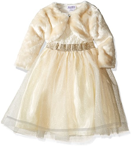 Blueberi Boulevard Little Girls' Lace Ballerina Dress with Faux Fur Cardigan, Cream, 5 (Boulevard Blueberi Dress)