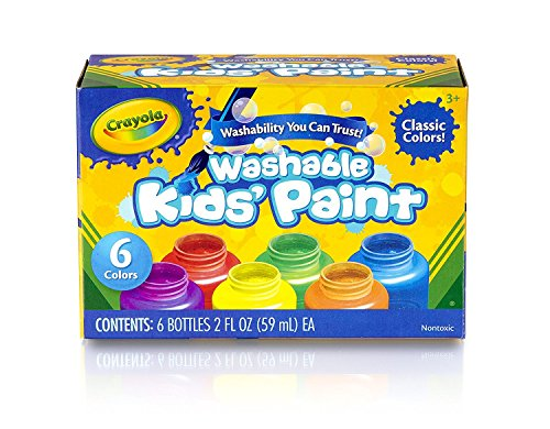 (Crayola Washable Kids Paint, Classic Colors, 6 Count, Stocking Stuffer, Gift)