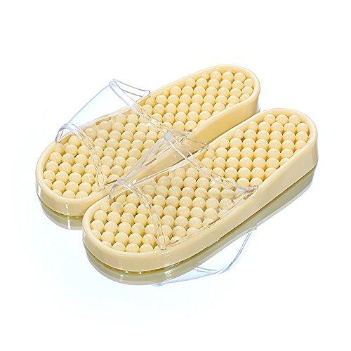 slippers Indoor Summer plastic couples bath massage bathroom crystal leak home Yellow milk summer bottom water female non flat sandals slip qqxT6rB
