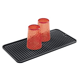 mDesign Silicone Dish Drying Mat and Protector for Kitchen Countertops, Sinks - Ribbed Design - Non-Slip, Waterproof, Heat Resistant, Dishwasher Safe - Small - Black