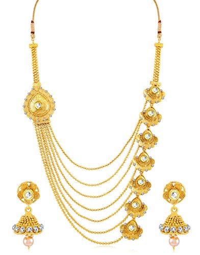 Sukkhi Women's Indian Traditional Bollywood Jewelry Collection Beguiling Jalebi Design 7 String Gold Plated Necklace Set Women