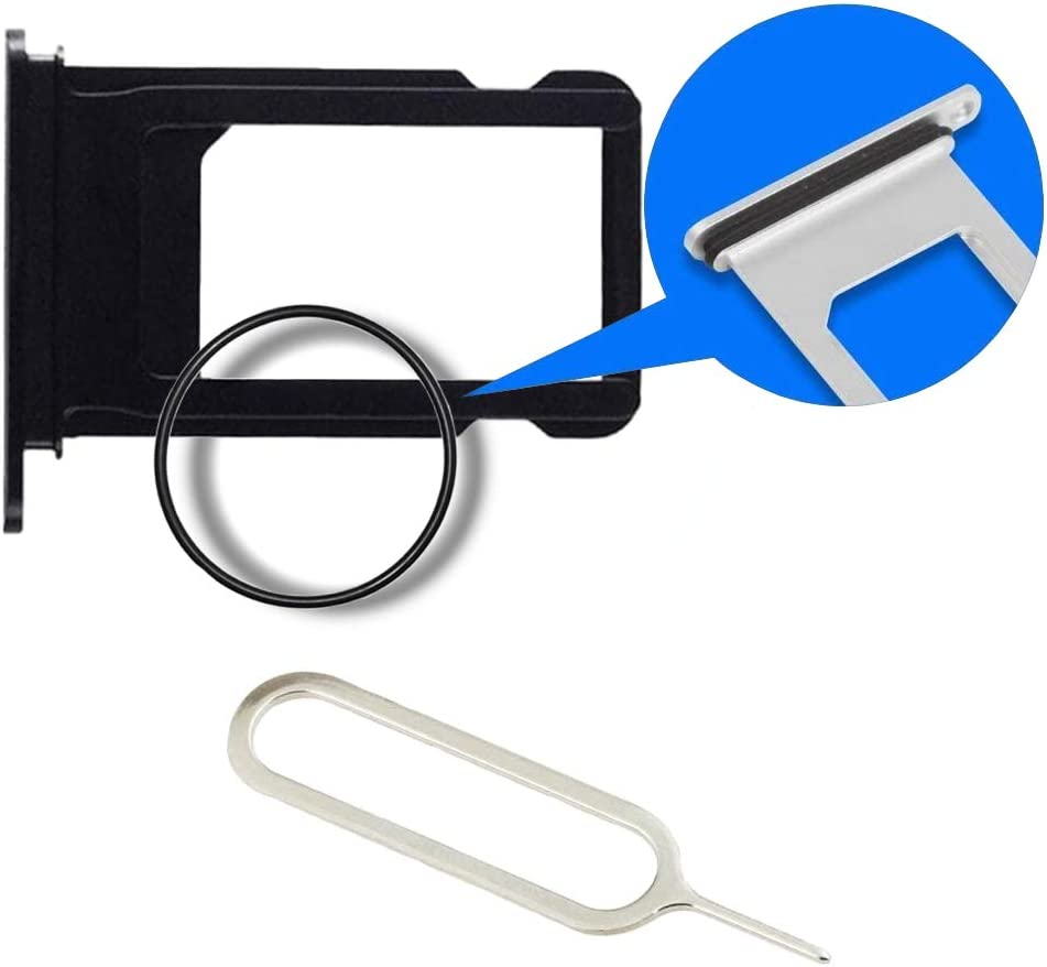 MMOBIEL SIM Card Tray Slot Replacement Part Compatible with iPhone SE 2020/8 Series 4.7 inch (Black) incl Sim pin
