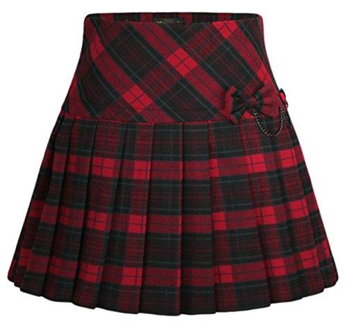 Chouyatou Women's A-Line Plaid Wool Blend Pleated Skirt Side Zipper (Large, 65Red)