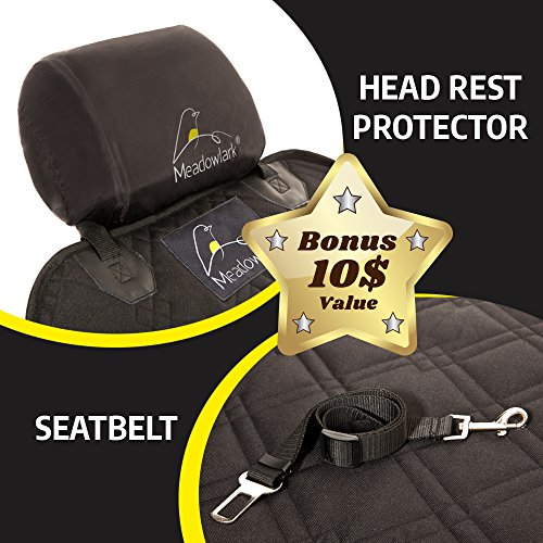 Meadowlark Car Seat Cover for Dogs: Premium Extra Thick Quilted Full Protection Front Seat Protector,Side Flaps, Waterproof, Durable, Nonslip Design, RFEE Bonus– Pet Seat Belt & Headrest Protector by Meadowlark (Image #3)