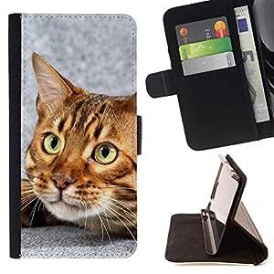 Momo Phone Case / Flip Funda de Cuero Case Cover - Gato de Bengala Casa gatito felino Mascota; - Samsung ALPHA G850