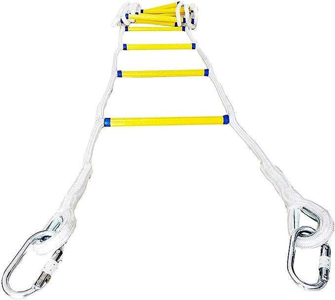 Trjyr Escaleras de Evacuación- Compacto 2-3 Historia 16 pies reutilizable del hogar del escape de fuego de seguridad escalera de cuerda con gancho Carabins, Aéreo Ingeniería Trabajo Escala que sube la: Amazon.es: