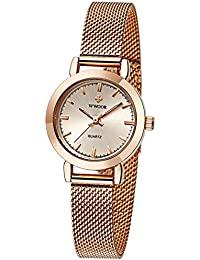 Womens Quartz Dress Watches Waterproof Stainless Steel Thin Mesh Band Wrist Watch Rose Gold