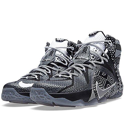 05782e2112c9 Nike Lebron XII 12 BHM Men s Shoes Black Metallic Silver-White ...