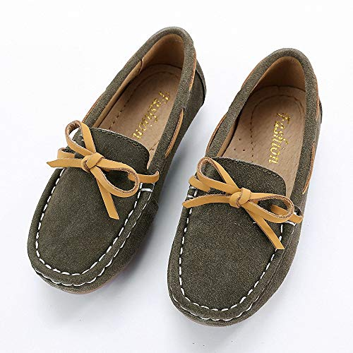 Tiebao Boys Girls Dress Shoes Slip on Suede Loafers Cute Fashion Comfort LS013-Kafei-36-3.5M (Kids Brown Dk Suede Shoes)