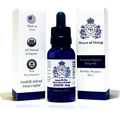 House of Hemp Premium Full Spectrum Hemp Oil | Pain Relief | Stress Mood Enhancer | Natural Sleep Aid | Anti-Inflammatory | Anti-Anxiety | Hemp Extract | Rich Omega 3,6 & 9 | (Natural, 2400mg)