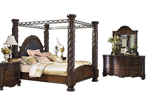 Cal King Poster Bedroom Set (Ashley North Shore 5PC Bedroom Set Cal king Poster Canopy Bed Dresser Mirror Two Nightstand in Dark Brown)