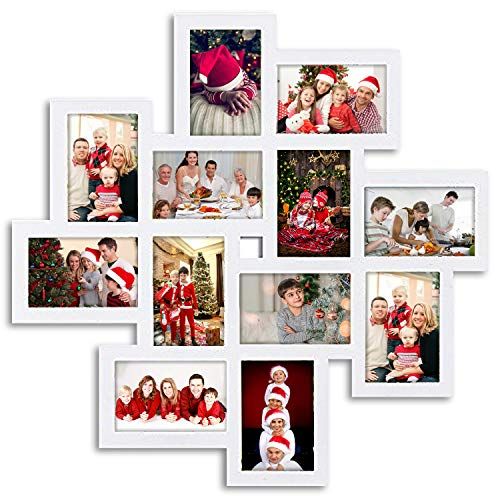 Jerry & Maggie - Photo Frame 24x24 Square Storm Eye White PVC Picture Frame Selfie Gallery Collage Wall Hanging for 6x4 Photo - 12 Photo Sockets - Wall Mounting Design