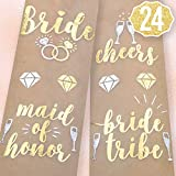 xo, Fetti Bachelorette Party Flash Tattoos - Bride Tribe, Maid of Honor - 24 Styles - Bridal Shower Favor and Decorations