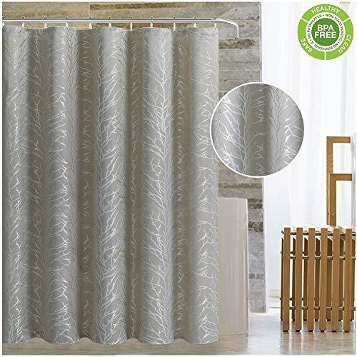 Magnificentex Jacquard Fabric Shower Curtain, with Stylish Tree Branch Bathing Curtain Shower Curtain for Bathtub Mildew Resistant Waterproof Fast Dry Taupe 70