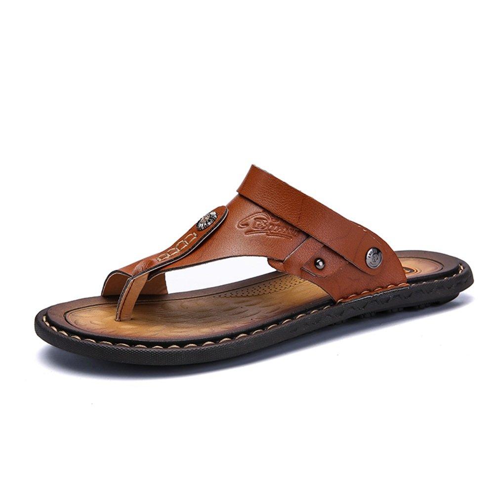 Sandalias de los Hombres de Doble Propósito Casual Clip Sandalias de Playa Zapatilla de Piel de Vaca Deslizador de Gran Tamaño 39 EU|Marrón