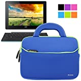 Evecase Acer Aspire Switch 10 E SW3-013 10.1 Inch Tablet Neoprene Sleeve Case, Slim Briefcase w/ Handle & Accessory Pocket / Ultra Portable Travel Carrying Case Sleeve Portfolio Pouch Cover - Blue