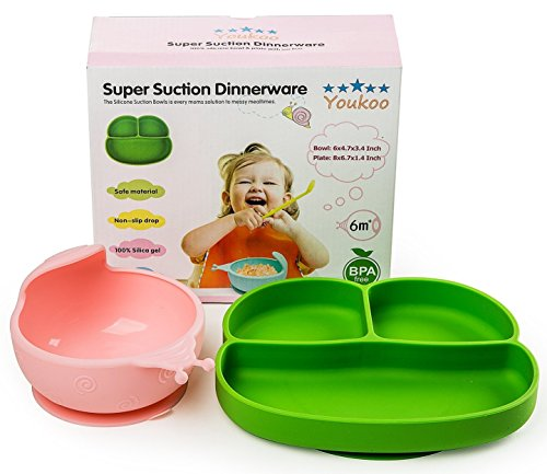 Baby Feeding Dinnerware Set, Toddler Kids Suction Bowl & Plate ()