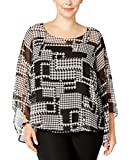 Alfani Womens Plus Chiffon Houndstooth Blouse B/W 1X