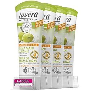 Lavera Crème de Mains et Ongles à l'Huile d'Olive Bio et camomille–vegano–Cosmétiques naturels 100% certifié–Soin de la peau–4boîtes de 75ml