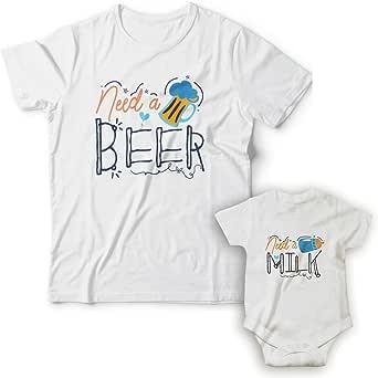 WABBINK Camiseta y Body Bebé Manga Corta - Need a Beer/Milk – Regalos Originales para Padres y recién Nacidos - Papás Primerizos/futuras mamás: Amazon.es: Ropa y accesorios