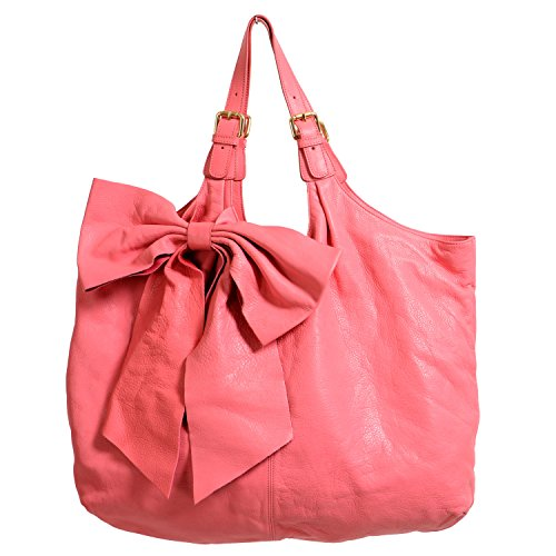 (Red Valentino Women's Pink 100% Leather Bow Decorated Large Tote Shoulder Bag)