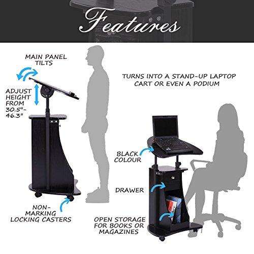 HOMCOM Adjustable Height Laptop Cart with Storage - Black by HOMCOM (Image #3)